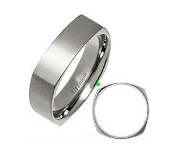 Titanium Square Ring by TitanJewelleryUK