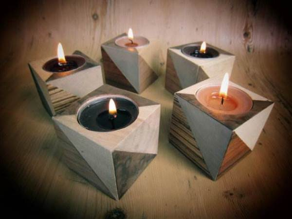 Etsy handmade retro veneered wood tealight candle holder via National Vintage Wedding Fair blog