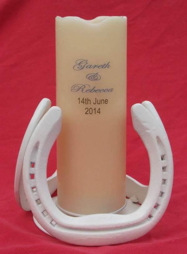 Etsy handmade upcycled horseshoe candle holder & personalised candle via National Vintage Wedding Fair blog