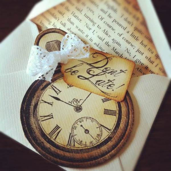 Etsy save the date cards - Alice in Wonderland watch card via National Vintage Wedding Fair blog