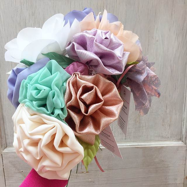 Fabric wedding flowers by Daphne Rosa for the Unique Bride Box by the National Vintage Wedding Fair