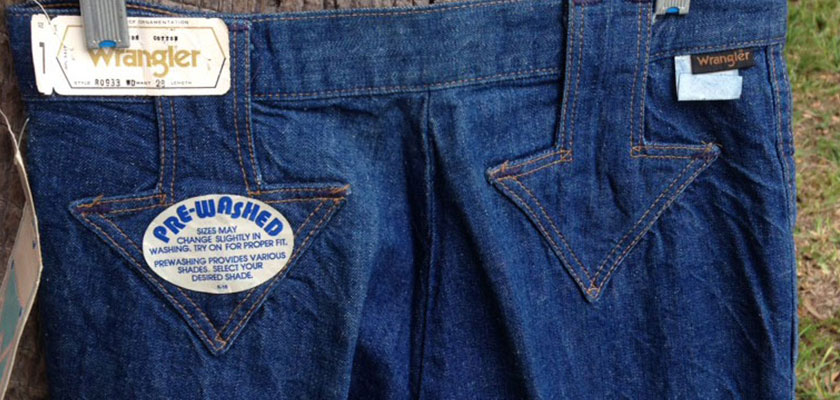 "Wrangler For Girls RO933 ""Down Arrow"" 70s Vintage BIG Bell Bottom Denim Jeans"