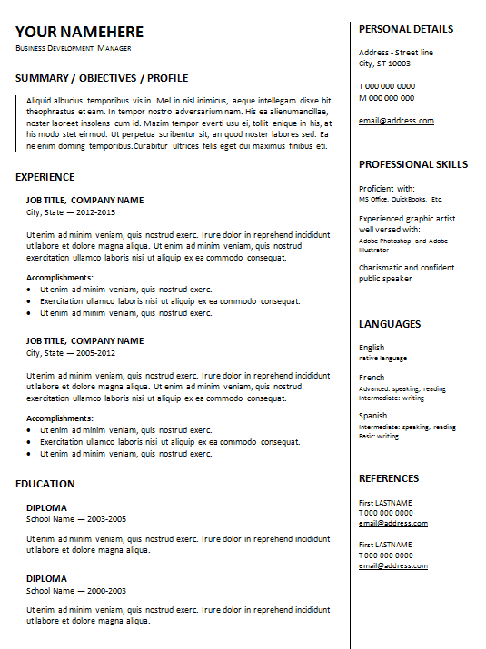google resume template gallery