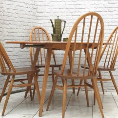 Ercol Windsor Dining Table And Chairs Needlepoint Chair Covers For Sale Blonde Elm Mid Century Drop Leaf 4