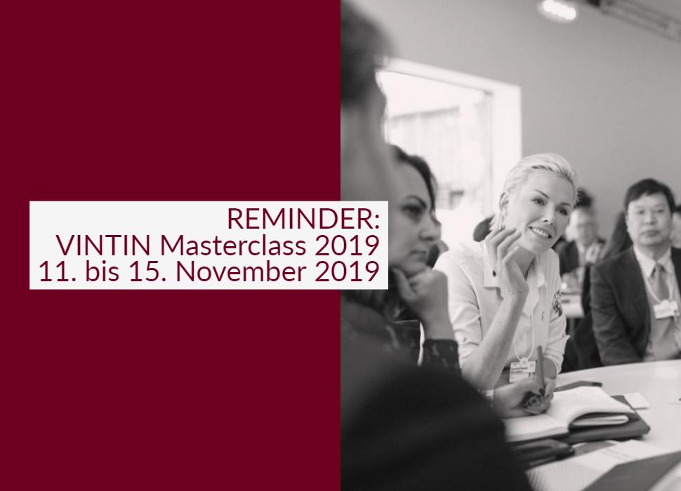Reminder: VINTIN Masterclass 2019 vom 11. bis 15. November 2019