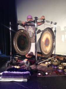 Marshall Bendelac behind the Saturn and Sun Paiste Planetary Gongs.