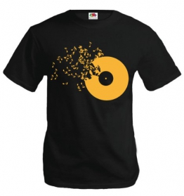 buXsbaum T-Shirt Musik-Schallplatte-XL-Black-Sunflower - 1