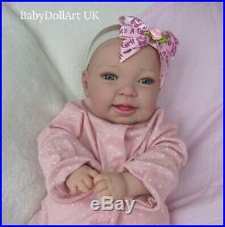 Reborn baby girl doll, Happy Baby Bella 18 blue eyes