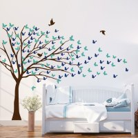 Butterflies Blowing Tree Wall Decal - Kids - wall decals