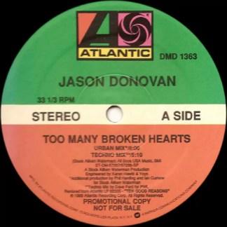 """Jason Donovan - Too Many Broken Hearts (12"""", Promo)"""