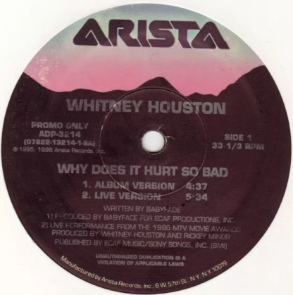 """Whitney Houston - Why Does It Hurt So Bad / I Wanna Dance With Somebody (Who Loves Me) (Remix 1996) (12"""", Promo)"""