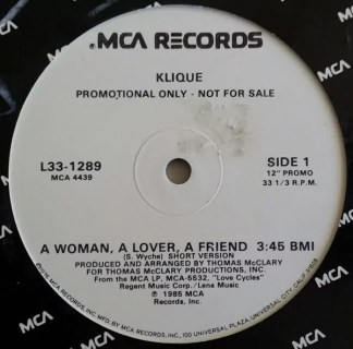 "Klique - A Woman, A Lover, A Friend (12"", Promo)"