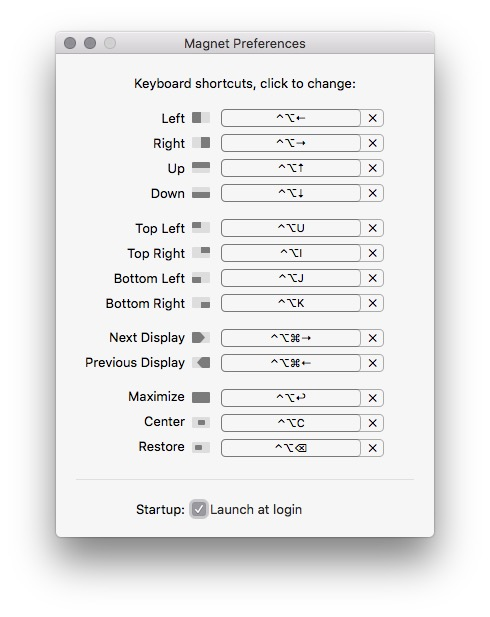 Magnet OSX App Settings