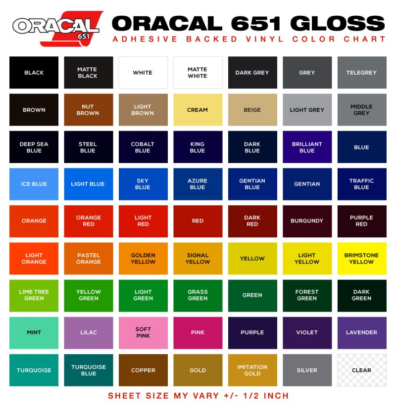 Oracal Color Guide 2016 Coloringsite