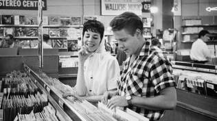 Rockabilly singer Mr Eddie Cochran and his fiancée, songwriter Ms Sharon Sheeley, shop for records in LA, late 1950s Douglas Kirkland: Corbis