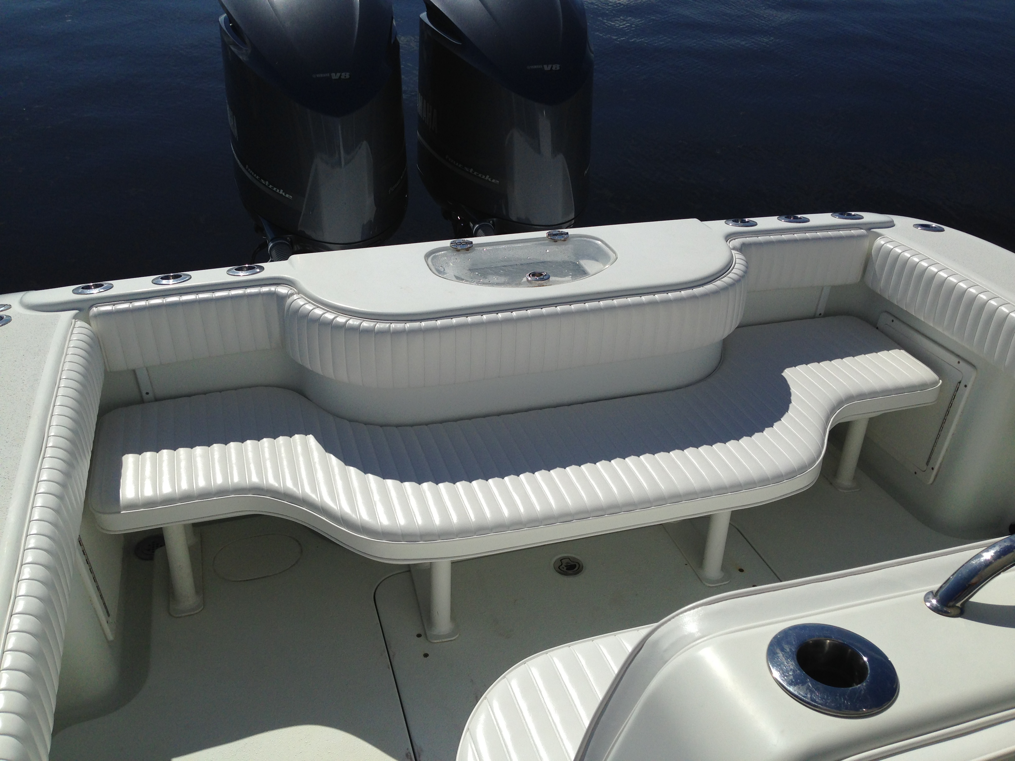 boat chairs folding deck wood vinyl tek  marine upholstery custom cushions canvas