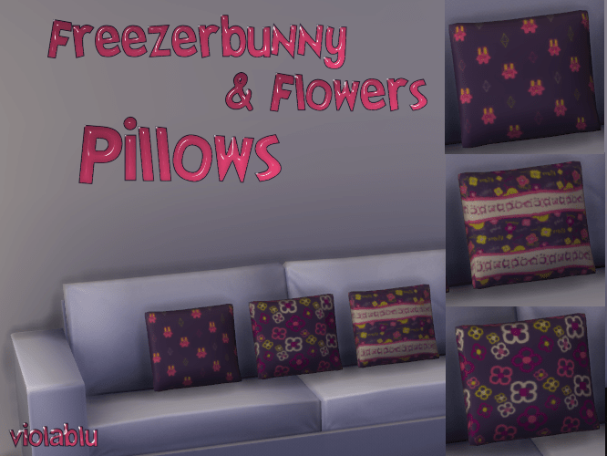 Freezerbunny & Flowers Sofa Pillows
