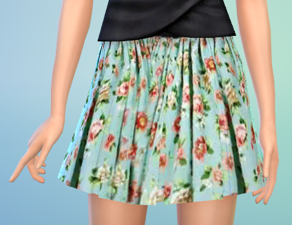 Flower Pattern Pleated Skirt