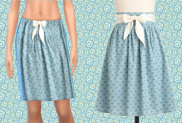 Blue Knee Skirt with Bow