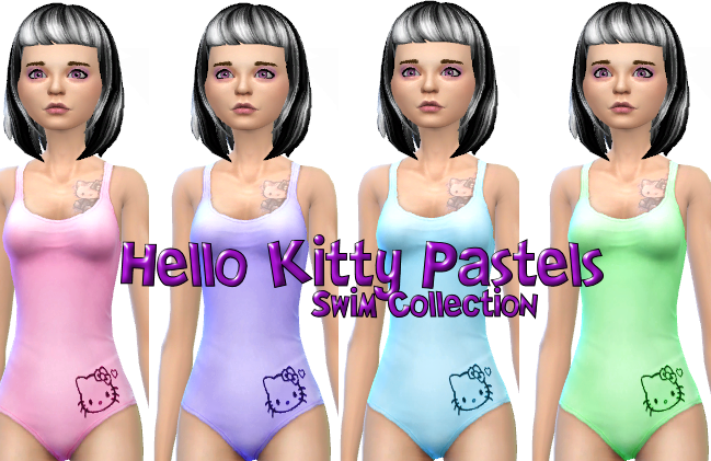 Hello Kitty Pastel Swim Collection in 8 colors