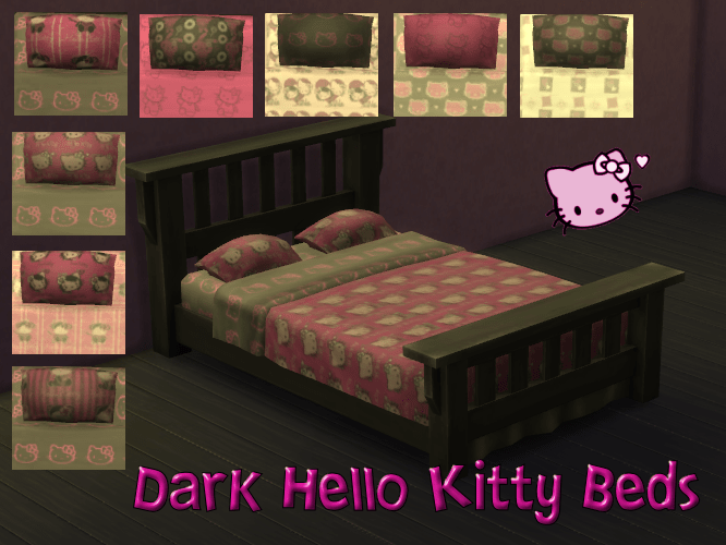 Dark Hello Kitty Bed Set 8 patterns