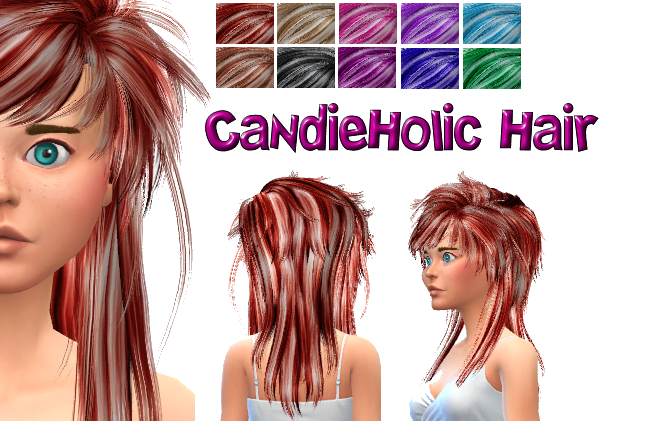 CandieHolic David Hair conversion recolores in 10 shades