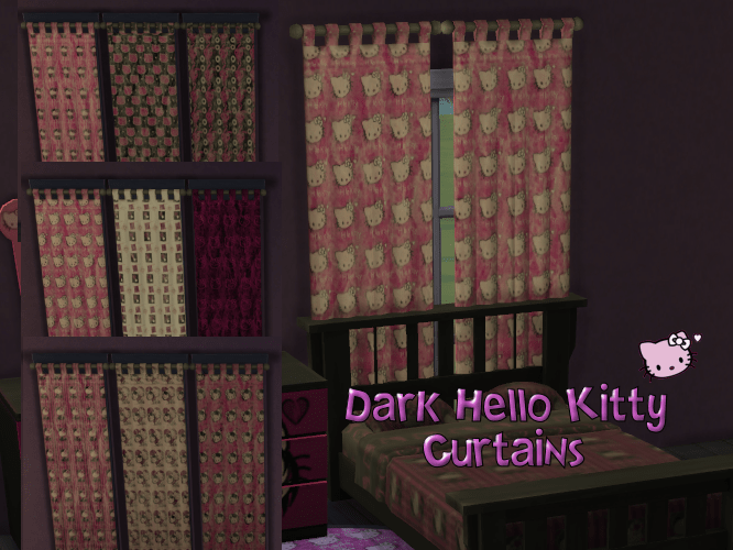 Dark Hello Kitty Curtain Set in 9 patterns