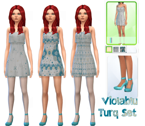 Turq Flutter Dress Set