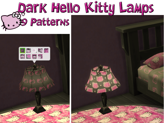 Dark Hello Kitty Lamp Set in 9 Patterns