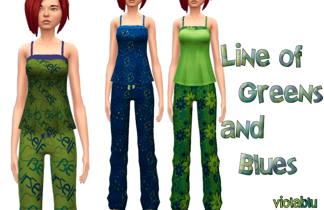 Line of Greens and Blues PJ Set Mix and Match