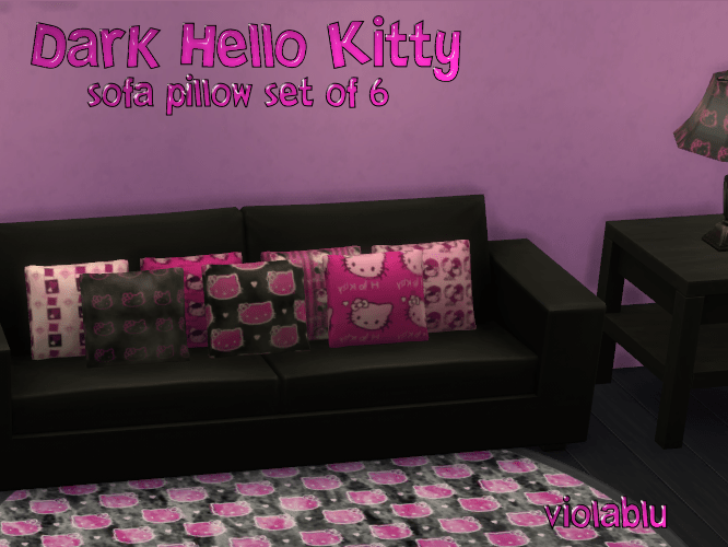 Dark Hello Kitty Sofa Pillow Set of 6