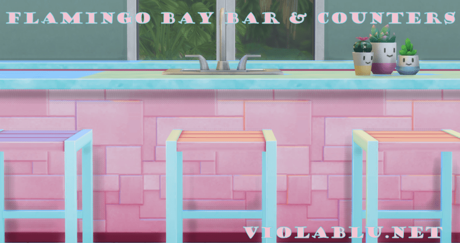 Flamingo Bay Bar and Counters for Sims 4