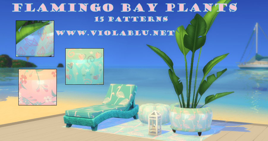 Flamingo Bay Potted Plant for Sims 4