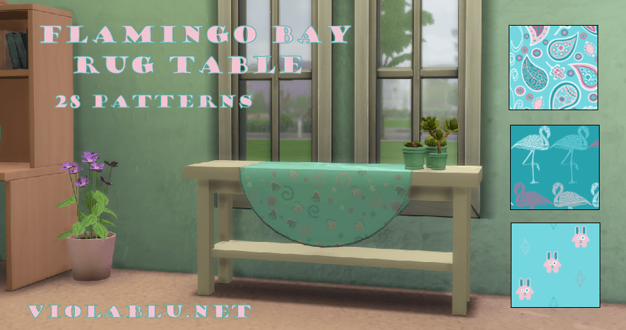 Flamingo Bay Rug Table for Sims 4
