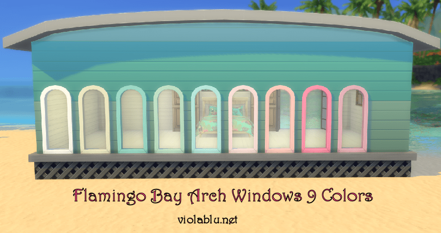 Flamingo Bay Arch Windows for Sims 4