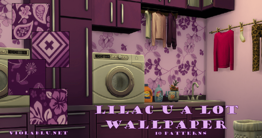 Lilac U A Lot Pattern Wallpaper for Sims 4