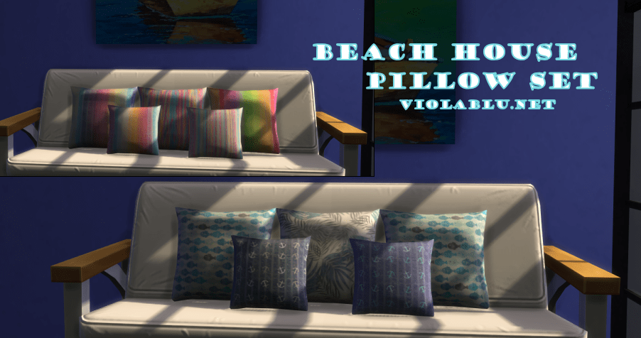 Beach House Pillow Set for Sims 4