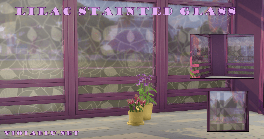Lilac U A Lot Stained Glass Window Set for Sims 4