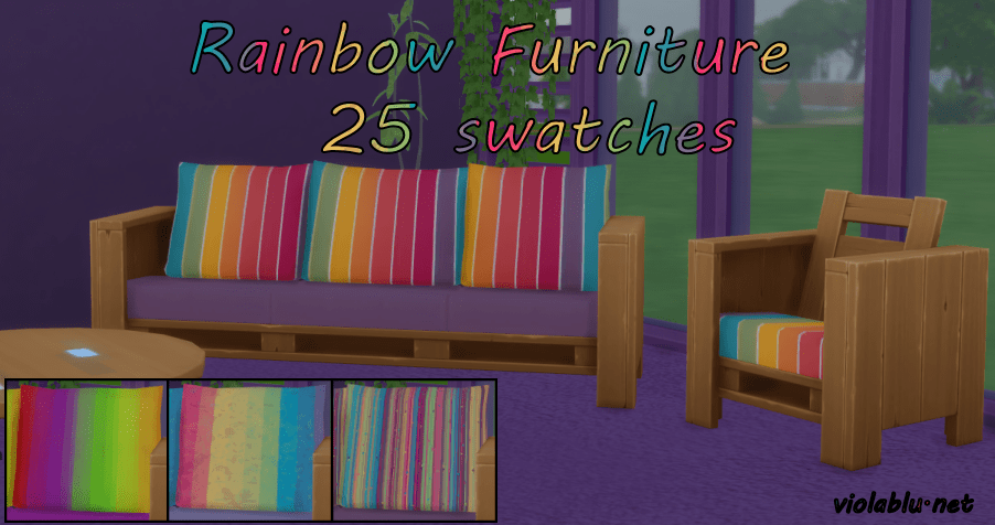 Rainbow Eco Furniture Set for Sims 4