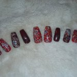 Fall Red and Brown Leaf Nails