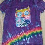 Youth XL V Neck Purple Owl Batik Tie Dye