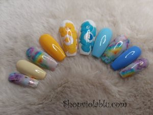 Medium Blue and Yellow Care Bear Press On Nails ⋆ Shop Violablu