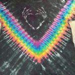 Large Black Bone Heart Tie Dye