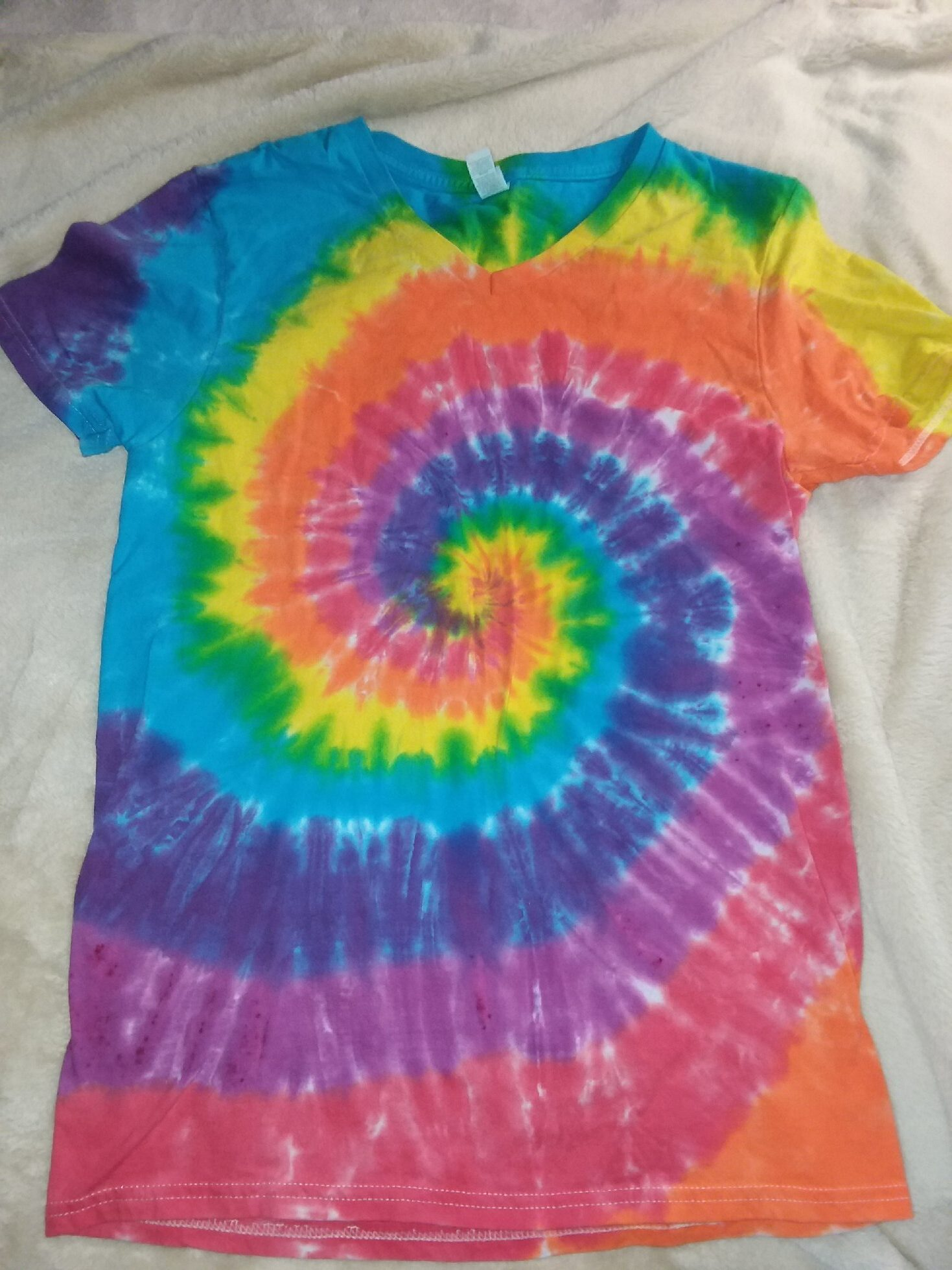 Small Rainbow Spiral V Neck Tie Dye