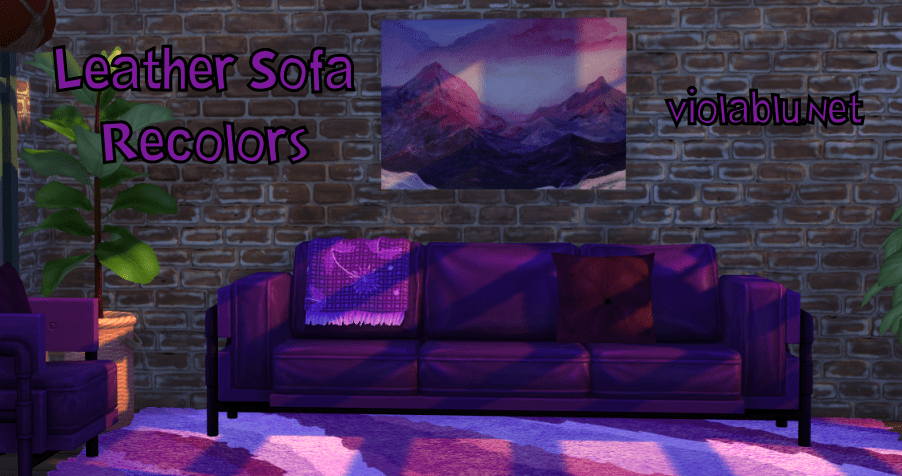 Viola's Colorful Leather Sofa for Sims 4