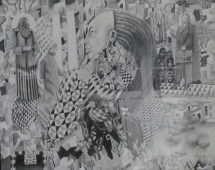 """Laurence Pierce, """"After the Fall (9-11)"""", graphite on paper, 30 1/2"""" x 35"""""""