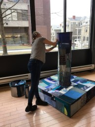 Willoughby Lucas Hasting, PILLAR TO CHANGE, 2020, Hand-quilted protest monument made from donated blue fabrics, on rod steel armature, 6' x 6'