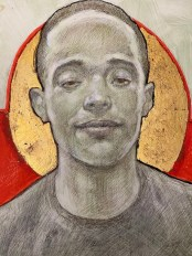"Carlos Byron, ""Paul,"" egg tempera/Chinese ink/gold leaf, 11"" x 14"", 2015"