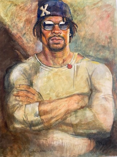 """Carlos Byron, """"Stonecutter,"""" egg tempera on paper, 22"""" x 28"""", 1997"""