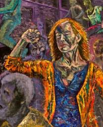 """Judith Carlin, """"Mean World,"""" Oil and acrylic on canvas, 30"""" x 24"""" x 0.8,"""" 2018"""